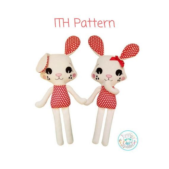 ITH Bunny conejo juguete máquina bordado patrón descargar | Etsy