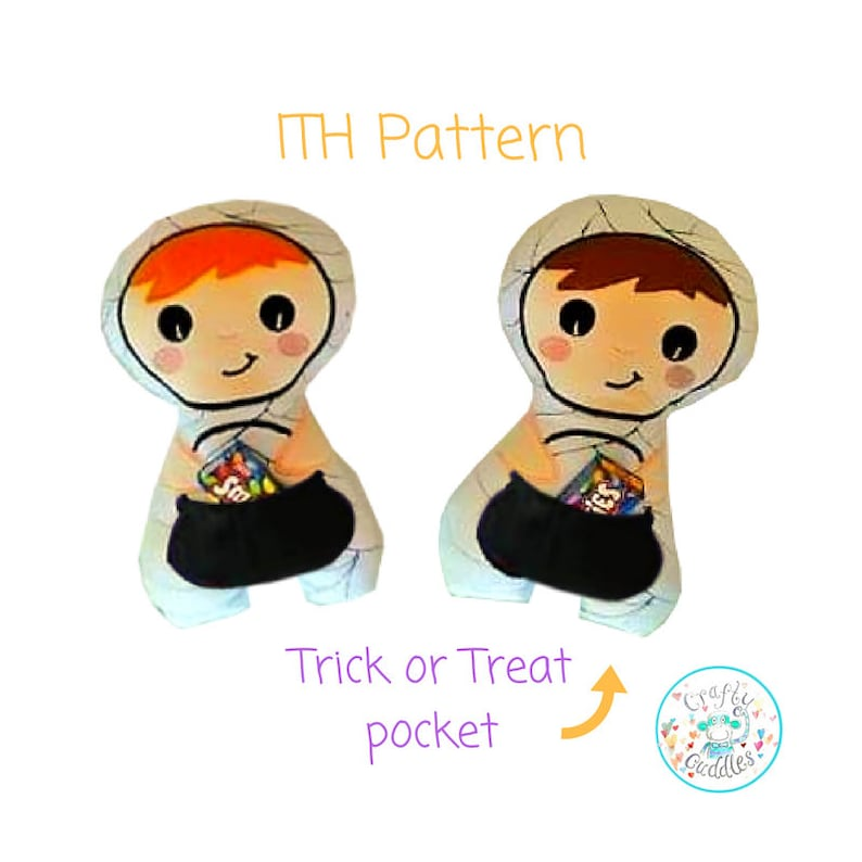 Frankenstein Toy ITH Halloween Stuffies Machine Embroidery Design Bundle In the hoop Mummy Stuffie ITH Pumpkin Stuffie ITH Witch Doll