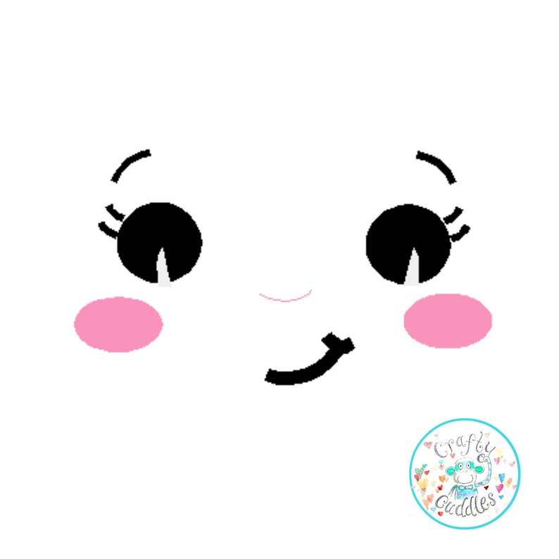 Doll Face Embroidery Design, Doll Face Embroidery Pattern, ITH Doll Face,  In the hoop Doll face, Stuffie face, Girl face machine embroidery