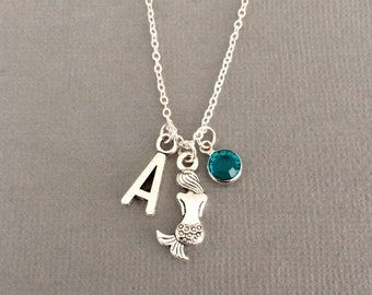 Mermaid necklace, mermaid gift, silver mermaid jewelry, mermaid jewellery, silver necklace, beach, ocean, sea