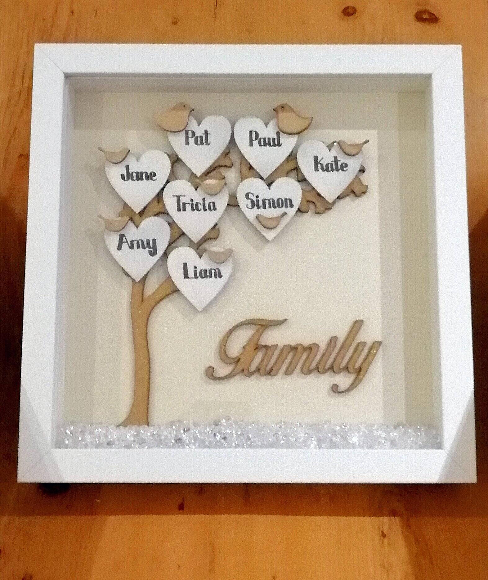 Personalisierte Rahmen Stammbaum Familiennamen Baum aus Holz   Etsy