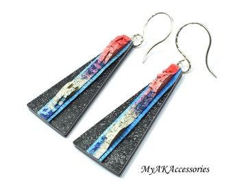 Black clay earrings - modern silver earrings - statement earrings - long earrings dangle - sterling silver earrings - geometric earrings