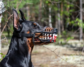 Werewolf zombie dogs muzzle. White color Doberman and ...