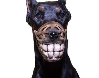 Pet Gift Funny dog muzzle Hand painted Smile dog muzzle Doberman muzzle Dog training accessory Halloween Costume Black dog safety muzzle