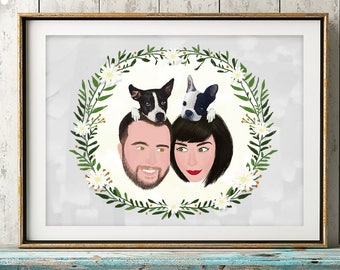 Custom Family Portrait Illustration, Digital Download, Gift For Mother, Christmas Gift, Christmas Card, Housewarming Gift, Family Wall Decal