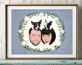 Custom Couple Pet Portrait, Gift For Couple, Custom Couple Illustration, Custom Portrait, Custom Family, anniversary gift, personalized gift