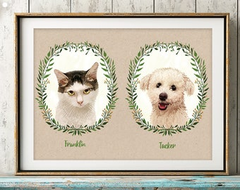 Custom Pet Portrait, Custom Cat portrait, Cat Memorial, Portrait from Photo, Cat Lover Gift, personalized gift, Pet Illustration, Pet Loss