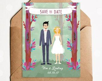 custom wedding portrait, wedding illustration, save the date cards, couple portrait, wedding invitation, wedding gift, wedding gift ideas