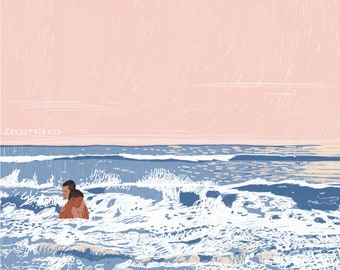 Sea Art Print, Nautical print, Beach Decor, Maritime Art, Maritime Prints, Maritime Gifts, Stormy Sea Print, Sea Poster, Sea Illustration,