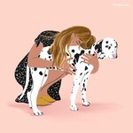 Pet Owner Portrait, Mothers day gift, Custom Portrait, Gift for Mom, Gift for best Friend, Portrait Drawing, Portrait Illustration, Pet & Me