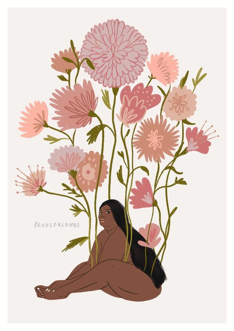 Impresión de la niña grande impresión del arte de la flor image 0