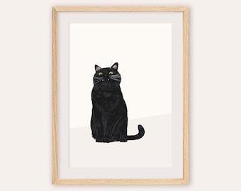 Black Cat Art, Black cat Print, Cat Lover Gift, Black Cat Wall Art, Cat Art Print, Funny Cat Art, Cat Poster, Black Cat Illustration, Kitty