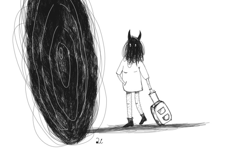 Dark art Print black hole Anxiety art Contemporary art image 0