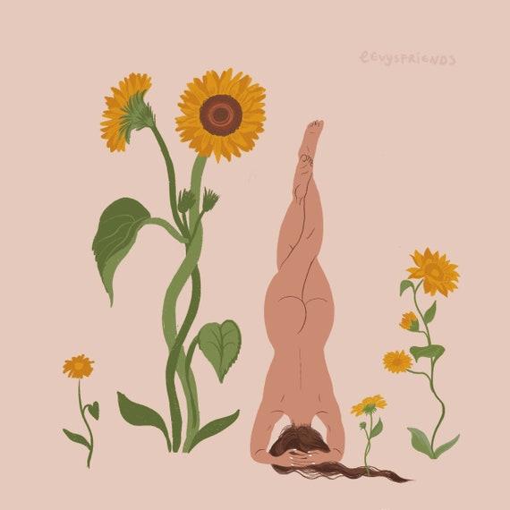 Uttanasana Forward Fold Yoga Decor Gift For Yogi Plant Lady Art Print Yoga Art Print