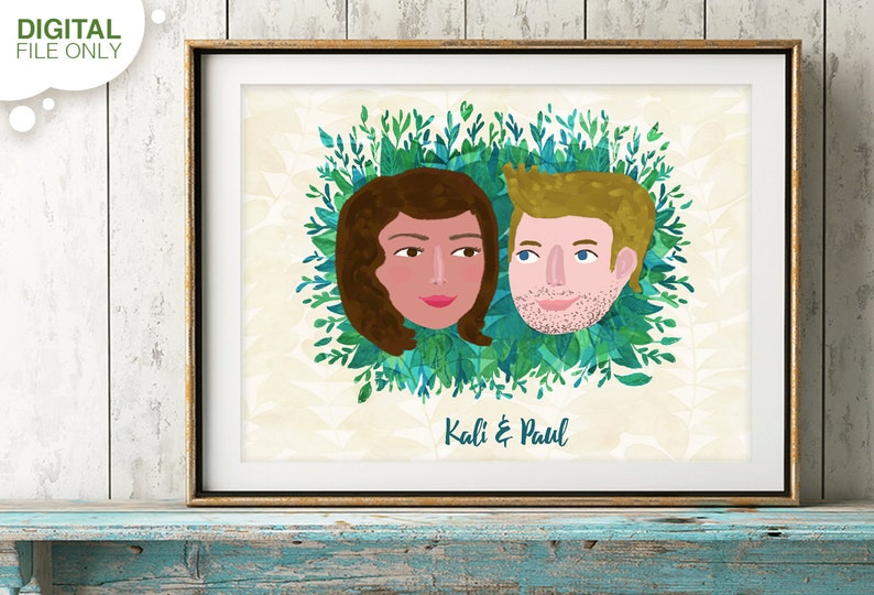 Custom Portrait Custom Couple Illustration Couple Portrait image 0