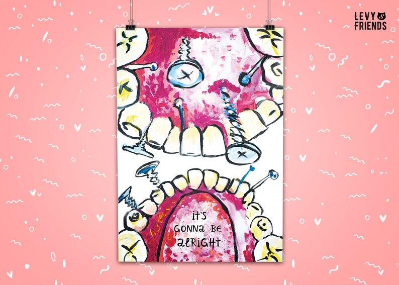 Dental Art Print Funny Tooth Print Tooth Illustration image 0