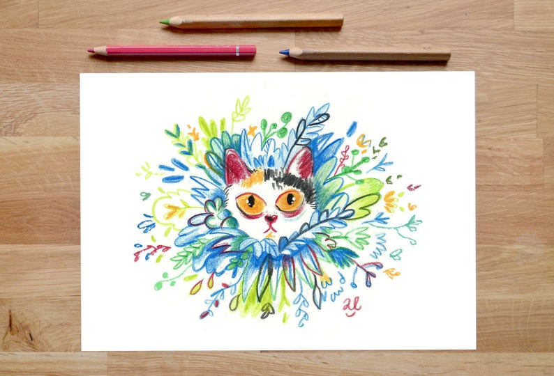 Cat Art Print cat artwork foliage prints cat decor cat image 0