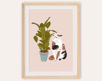 Cat Art Print, Calico Cat Print, Cat Poster, Cat Illustration, Cat and Plant Art, Cat Drawing, Fat cat art, Funny Cat Art, Cat Lady Gift