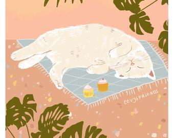 Cat Art Print, White Cat Print, Cat Poster, Cat Illustration, Cat Wall Art, Cat Drawing, Fat cat art, Funny Cat Art, Funny Cat Illustration