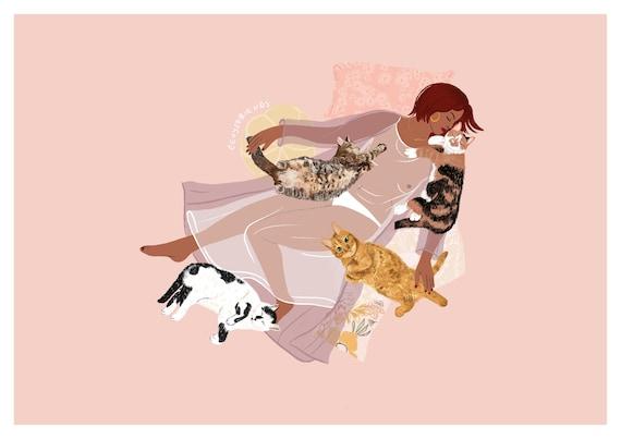 Limited edition signed A4 cartoon art print ~ /'Yoga Cat/'.
