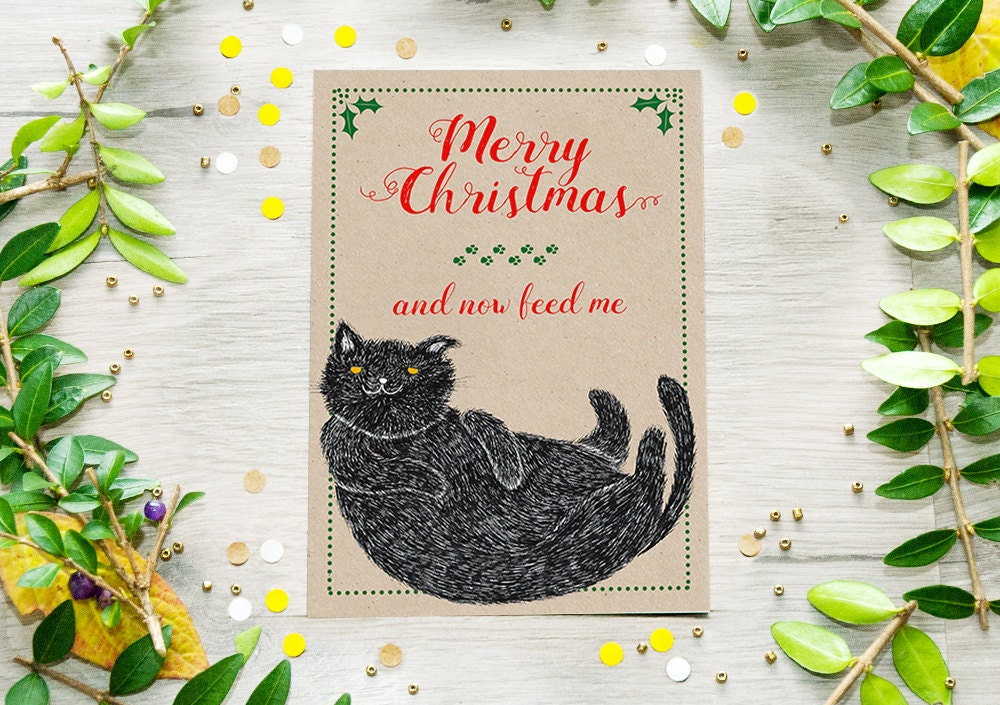 Cat Christmas Card Funny Cat Postcard Holiday cards | Etsy