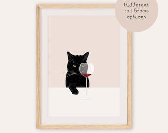 Wine Cat, Wine Art, Black Cat Art, Black cat Print, Cat Lover Gift, Funny Cat Art, Cat Poster, Black Cat Illustration,