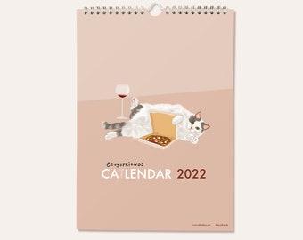 2022 wall calendar, Cat Calendar 2022, A4 Calendar, Illustrated Calendar, Funny Calendar, Levysfriends Calendar, Art Calendar, Cat Gifts