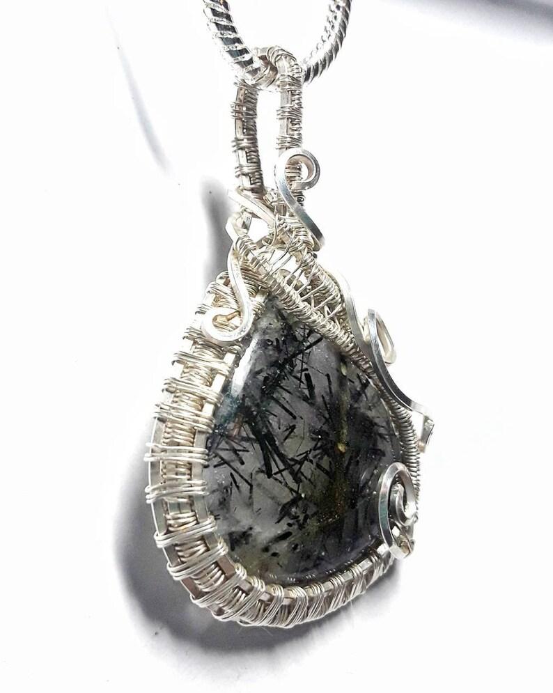 Wire Wrap Black Tourmaline in Quartz Wire Pendant Black Tourmalinated Pendant Quartz Jewelry Wire Woven Jewelry Black Clear Silver