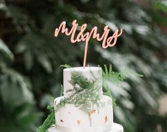 Mr and Mrs Cake Topper - Wedding Cake Topper - Calligraphy Cake Topper - Copper Cake Topper - Gold Cake Topper - Silver Cake Topper