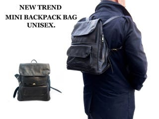 UNISEX TREND MINI backpack leather bag with multi-pockets
