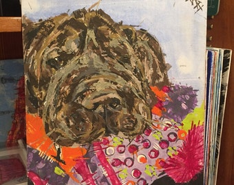 Shar pei acrylic painting pet portrait Chocolate brown dog portrait Embrace your wrinkles :) and slobber !!