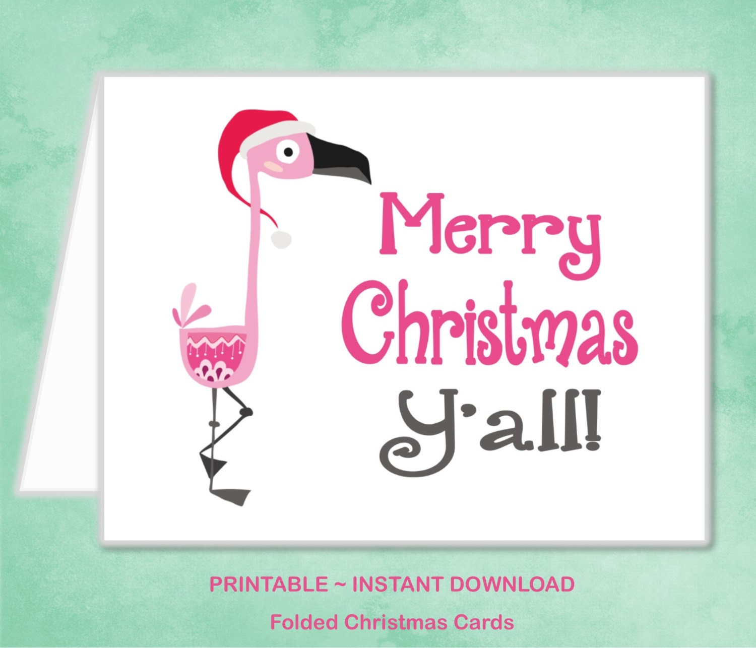 Printable Pink Flamingo Christmas Card Southern Merry | Etsy