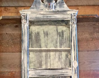 French Country Wall Decor Tabletop Cabinet Apothecay Cabinet Shadow Box Curio Cabinet Medicine Cabinet Spice Cabinet Bathroom Cabinet Old