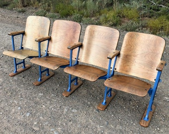 Two Theatre Chairs Refinished Theater Seats Cinema Chairs Movie Chairs Church Pew Church Chairs Entryway Bench Seat SOLD Accepting Orders