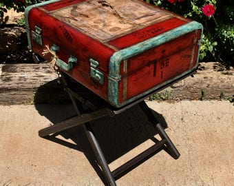 SOLDAccepting Custom Oders Vintage Suitcase Table Industrial Nightstand End Steampunk Bedside Furniture