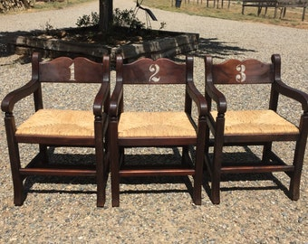 Set Of Three Vintage Hardwood Rush Chairs Accent Chairs Side Chairs Lodge  Chairs Cabin Furniture Entryway Bench With Back Church Chairs