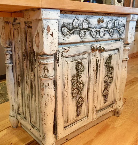 SOLD~Farmhouse Kitchen Island Butcher Block Sideboard Buffet Cupboard  Cabinets Storage Cabinet Vintage French Country Kitchen Furniture