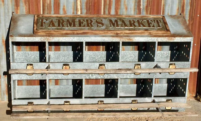 unique vintage chicken coop galvanized metal roosting boxes | etsy