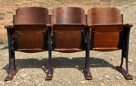 image 0 - 1920's Theatre Chairs With Hat Racks Rare Theater Seats Etsy