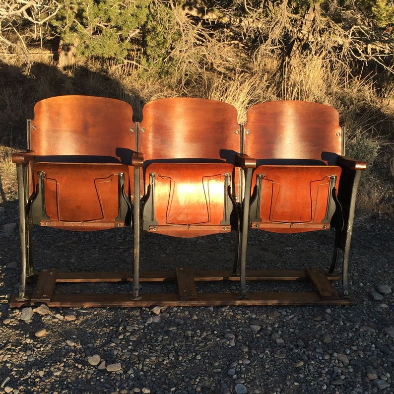 Rare set of 1920's theatre chairs with hat racks! Theatre seats theater  seats theater chairs old auditorium chairs cinema seats movie chairs