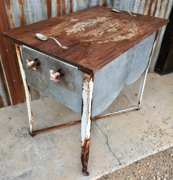 One Of A Kind Kitchen Island Repurposed Double Wash Tub Basin Etsy