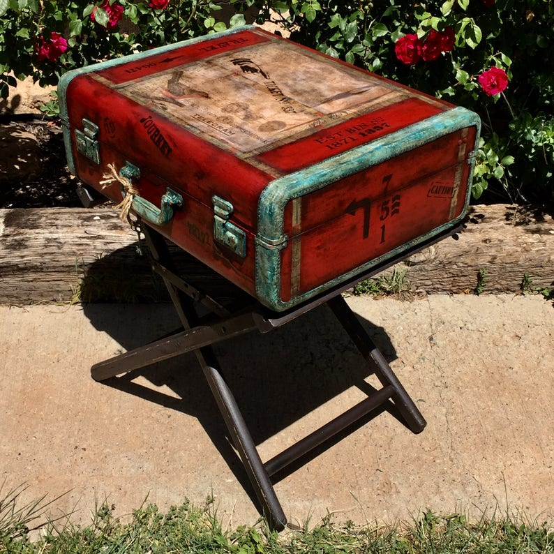timeless design 4600b 21eb5 SOLD~Accepting Custom Oders~ Vintage Suitcase Table Industrial Nightstand  Industrial End Table Steampunk Nightstand Bedside Table Furniture