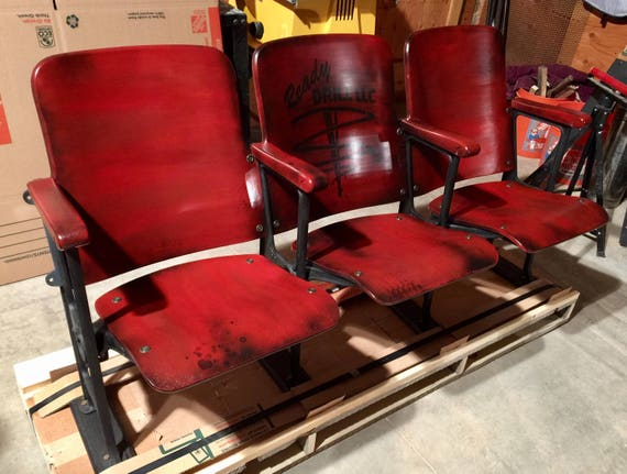 Astounding Sold Accepting Custom Orders Personalized Bench Seat Vintage Theatre Chairs Theater Seats Steampunk Chairs Industrial Chairs Old Church Pew Evergreenethics Interior Chair Design Evergreenethicsorg