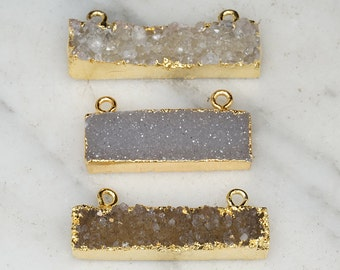 Bedazzled - Horizontal Druzy Bar on 22k Gold Filled Chain