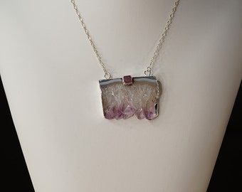 Merlot - Large Amethyst Slice on Sterling Silver Chain