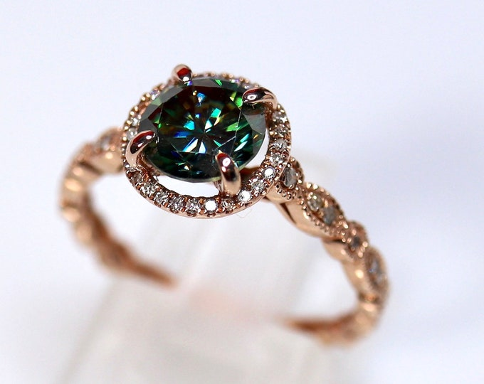 Halo engagement ring, 14K gold Art Deco, blue moissanite, bridal ring set, Art Deco band, diamond paved band, halo wedding ring, rose gold