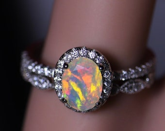 Oval halo opal ring, bridal set, white opal ring, engagement ring, fire opal ring, diamond paved band, wedding rings, stackable rings,