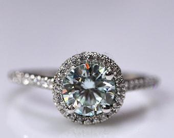 Blue moissanite, moissanite ring, wedding ring, bridal set, 925 sterling silver, halo ring, moissanite bridal, engagement ring, bridal rings