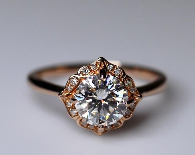 Engagement ring, gold moissanite ring, moissanite wedding, diamond ring, bridal set, ring for her, bridal ring, round solitaire, 14K gold