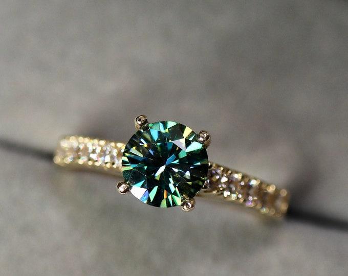 Blue moissanite ring, gold engagement ring,